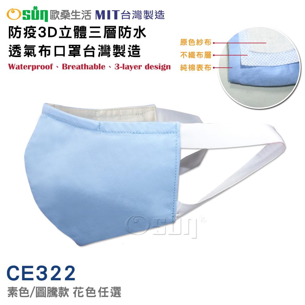 防疫3D立體三層防水透氣布口罩台灣製造
