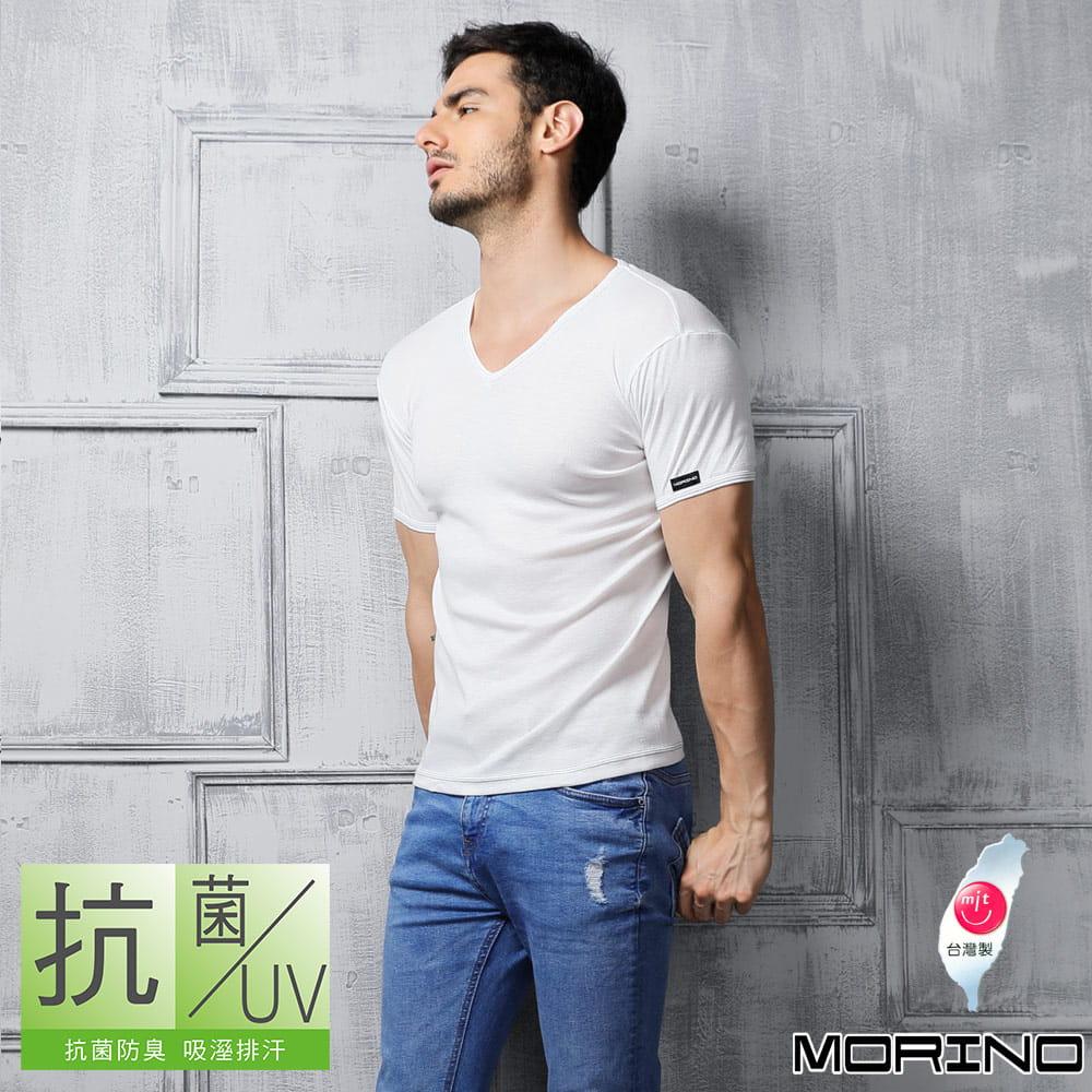 【MORINO摩力諾】抗菌防臭速乾短袖V領衫 9