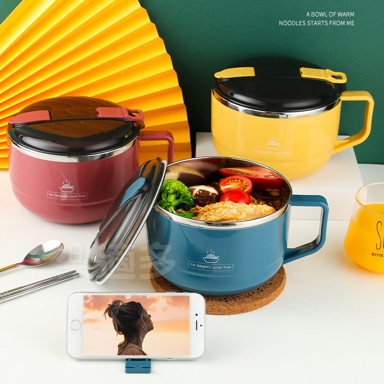 【1300ml】304不鏽鋼泡麵碗 蓋子可瀝水 蓋子可當手機架 SG9139泡麵碗 304不鏽鋼碗 11
