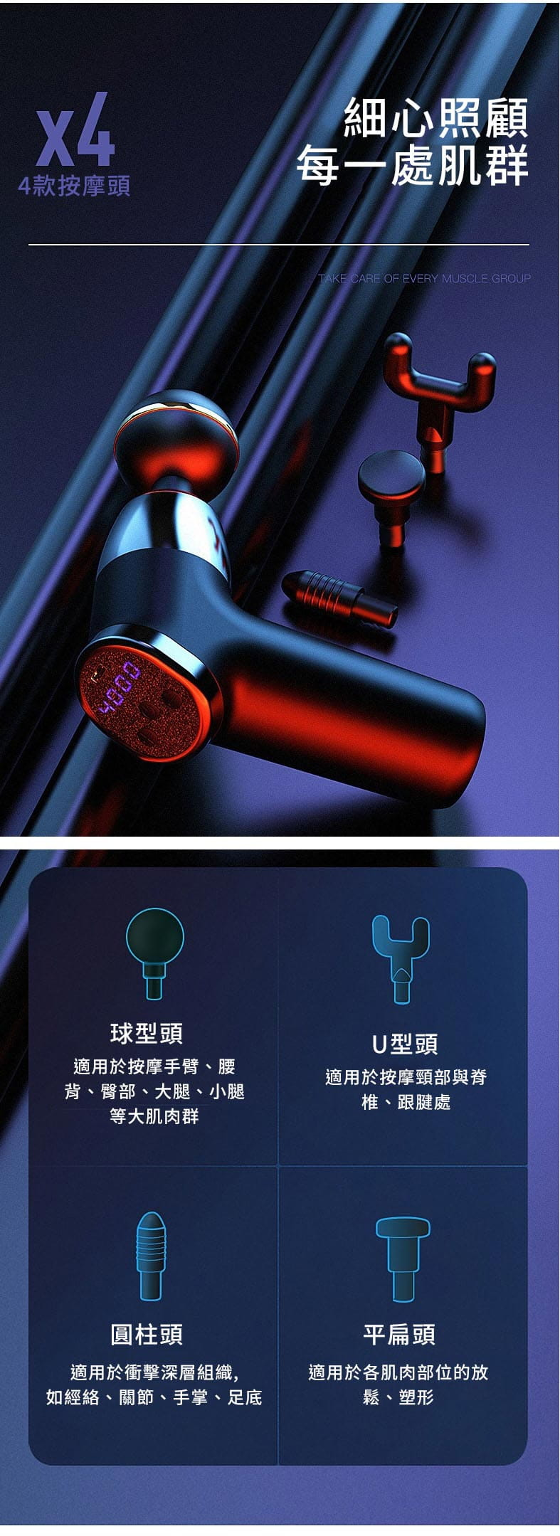 液晶版 20段速 USB電動按摩槍多功能健身肌肉按摩槍mini口袋筋膜槍 8
