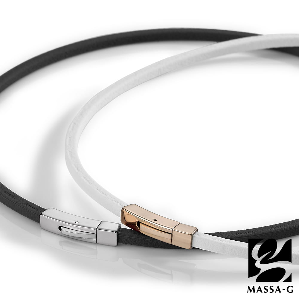 【MASSA-G】 Leather2 仿皮革紋鍺鈦能量項圈(4mm) 0