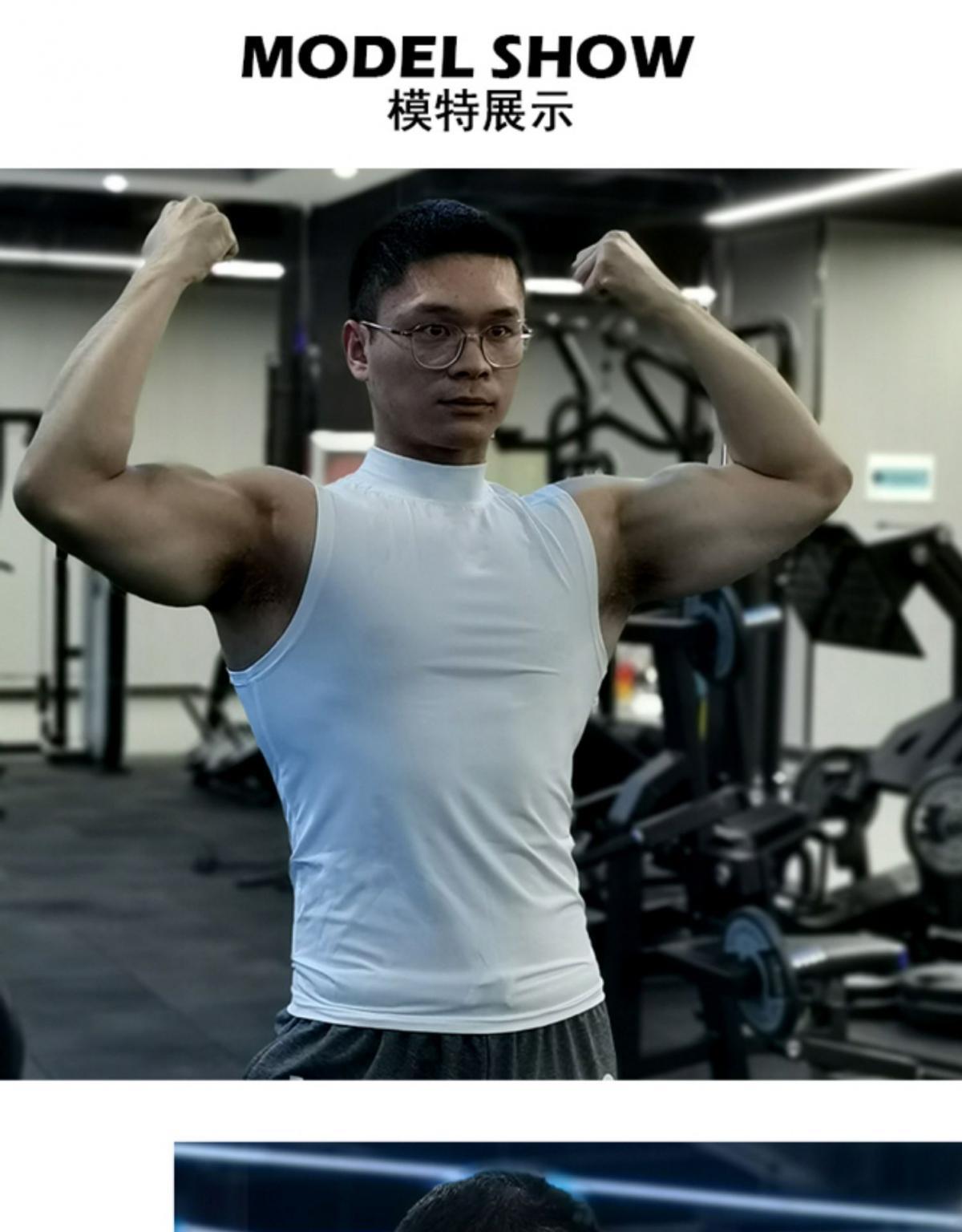 (快速出貨) 男士運動背心無袖緊身速乾運動彈力坎肩健身T恤高領訓練背心 7