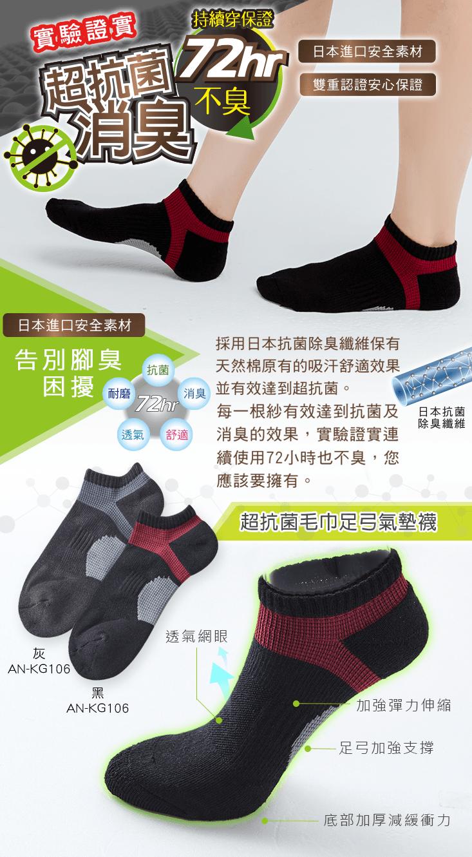 【ONEDER 旺達】超抗菌足弓氣墊襪.透氣船襪 1