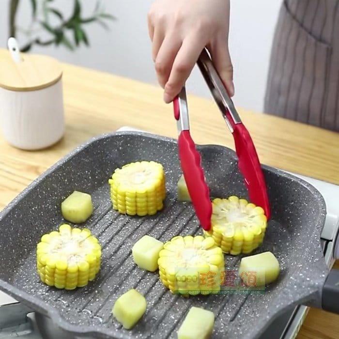 【珍愛頌】K077 防刮 耐熱 不鏽鋼矽膠烤肉夾 12吋 35cm 1