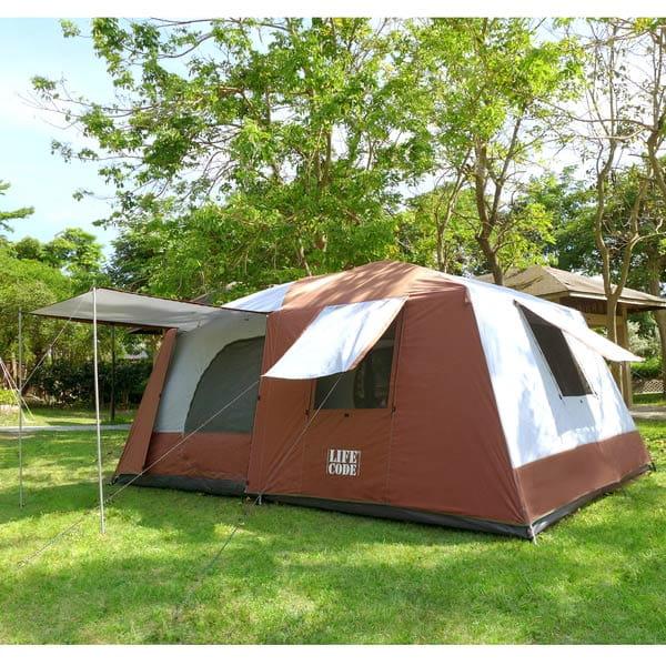 LIFECODE二房一廳抗紫外線8人帳篷(二門四窗)-咖啡色