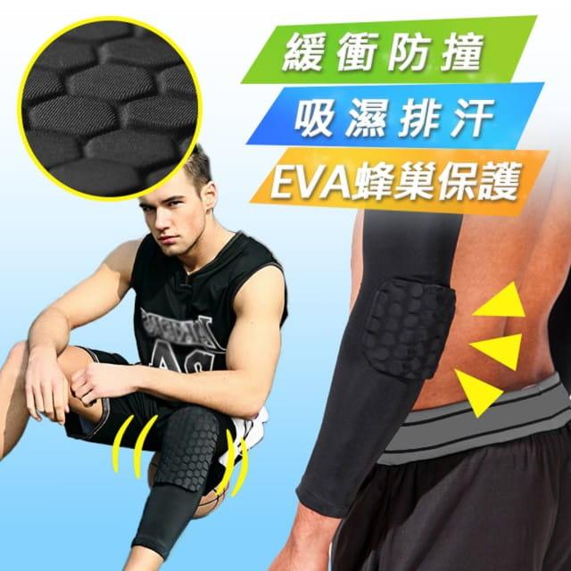 【Un-Sport高機能】EVA蜂巢防衝擊吸排護具套組(護膝+護臂)籃球/路跑/自行車)