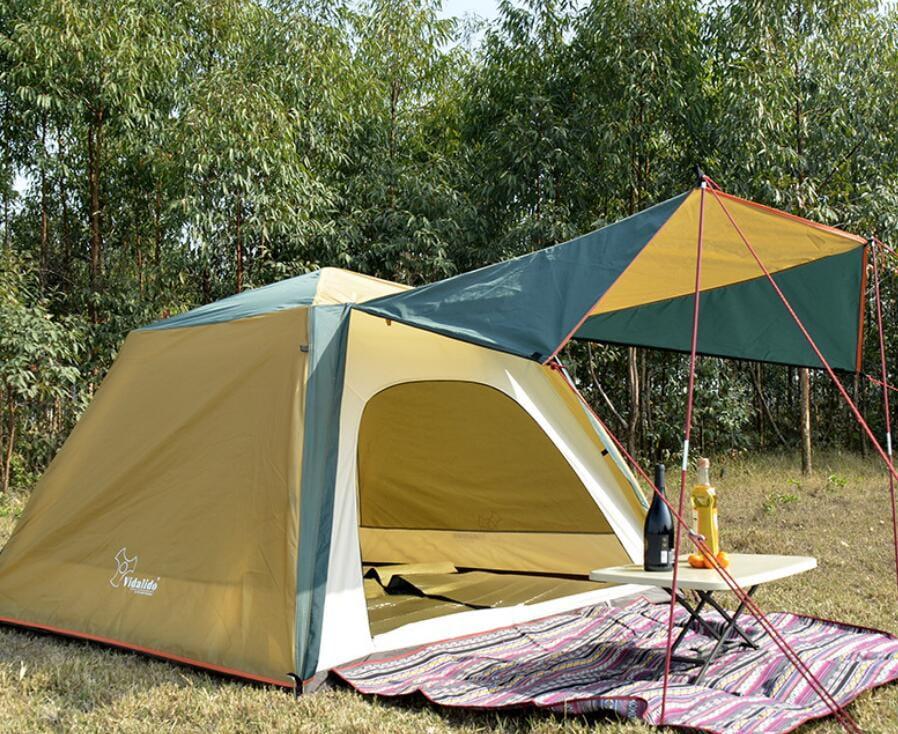 駝綠色自動速開家庭3-4人帳篷 防暴雨抗紫外線沙灘釣魚帳篷 2