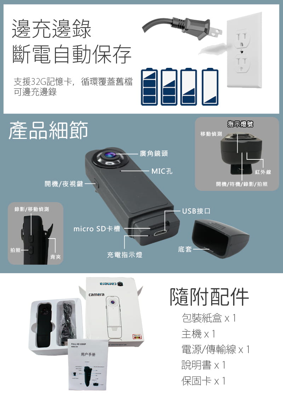 【勝利者】1080P夜視針孔微型攝影機 密錄器 邊充邊錄 循環錄影 2