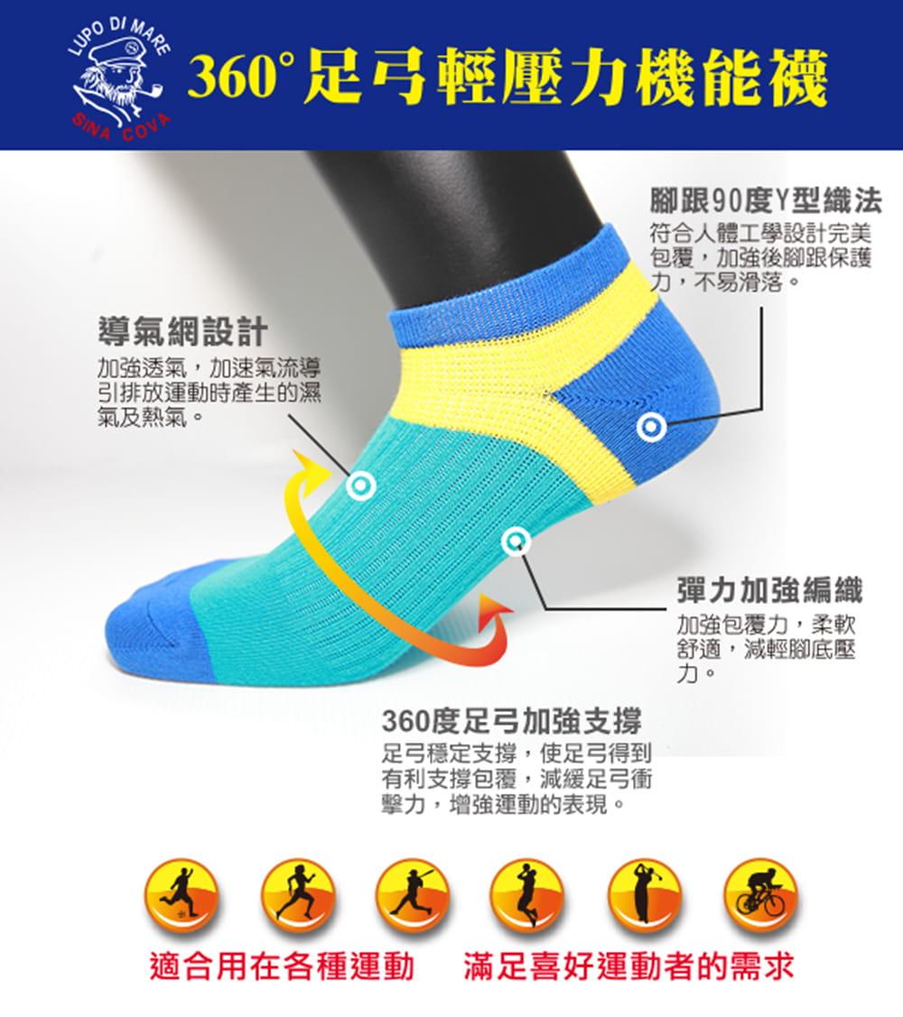 【老船長】(K144-9L)足弓輕壓機能運動襪-男款 2