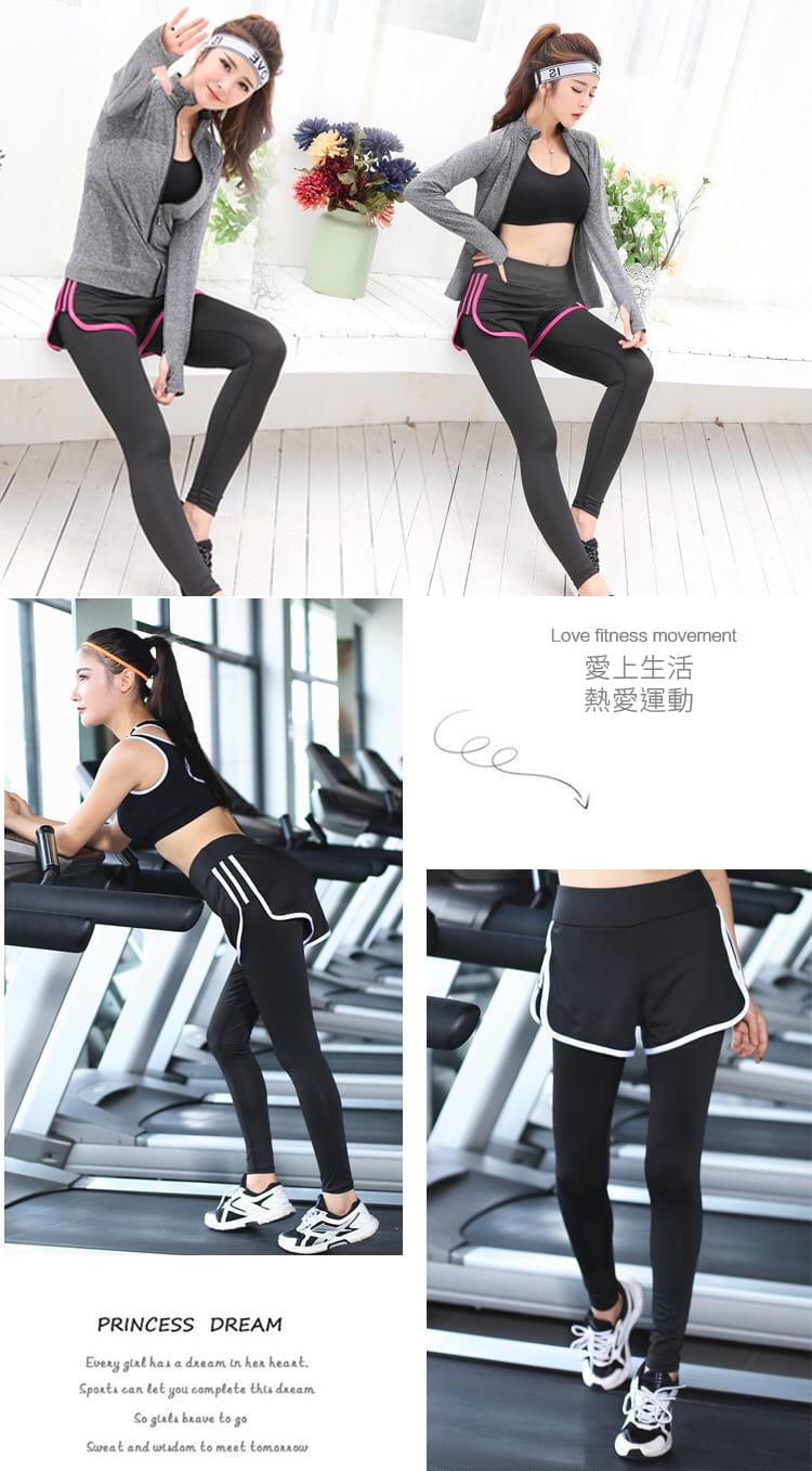 加大尺碼速乾顯瘦假兩件健身運動褲 6