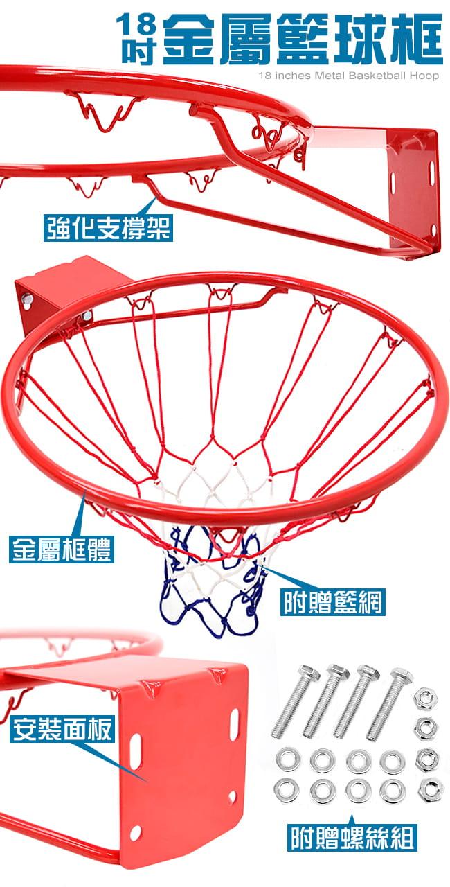 標準18吋金屬籃球框(含籃網)(標準籃框架/耐用籃筐架子) 3