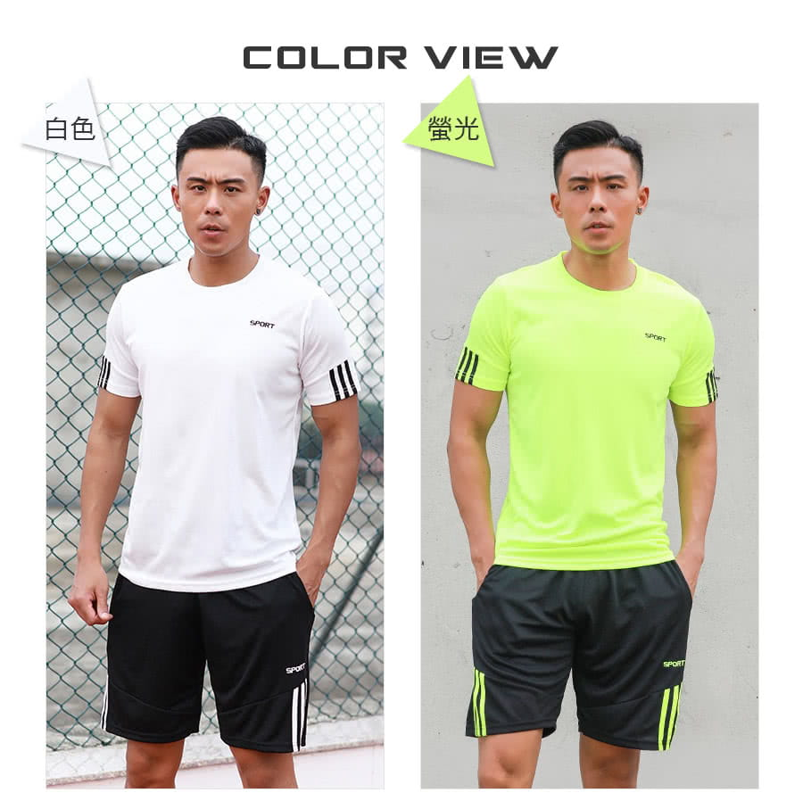【Un-Sport高機能】SPORT男專業瞬間吸排二件式運動套裝(健身/路跑/籃球)短袖+短褲 9
