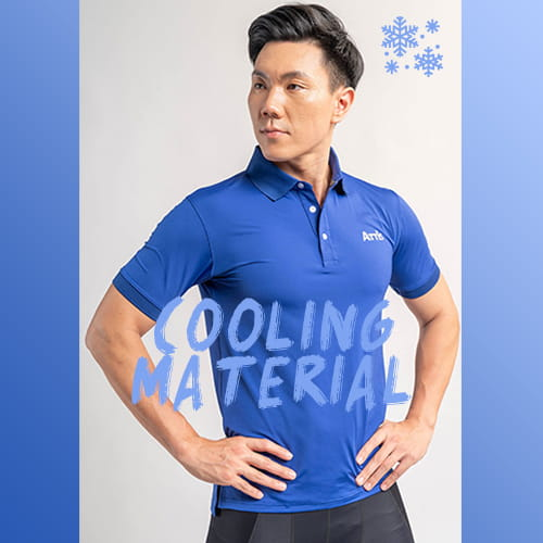 【Attis亞特司】螺紋立領短袖冰涼POLO衫-寶藍