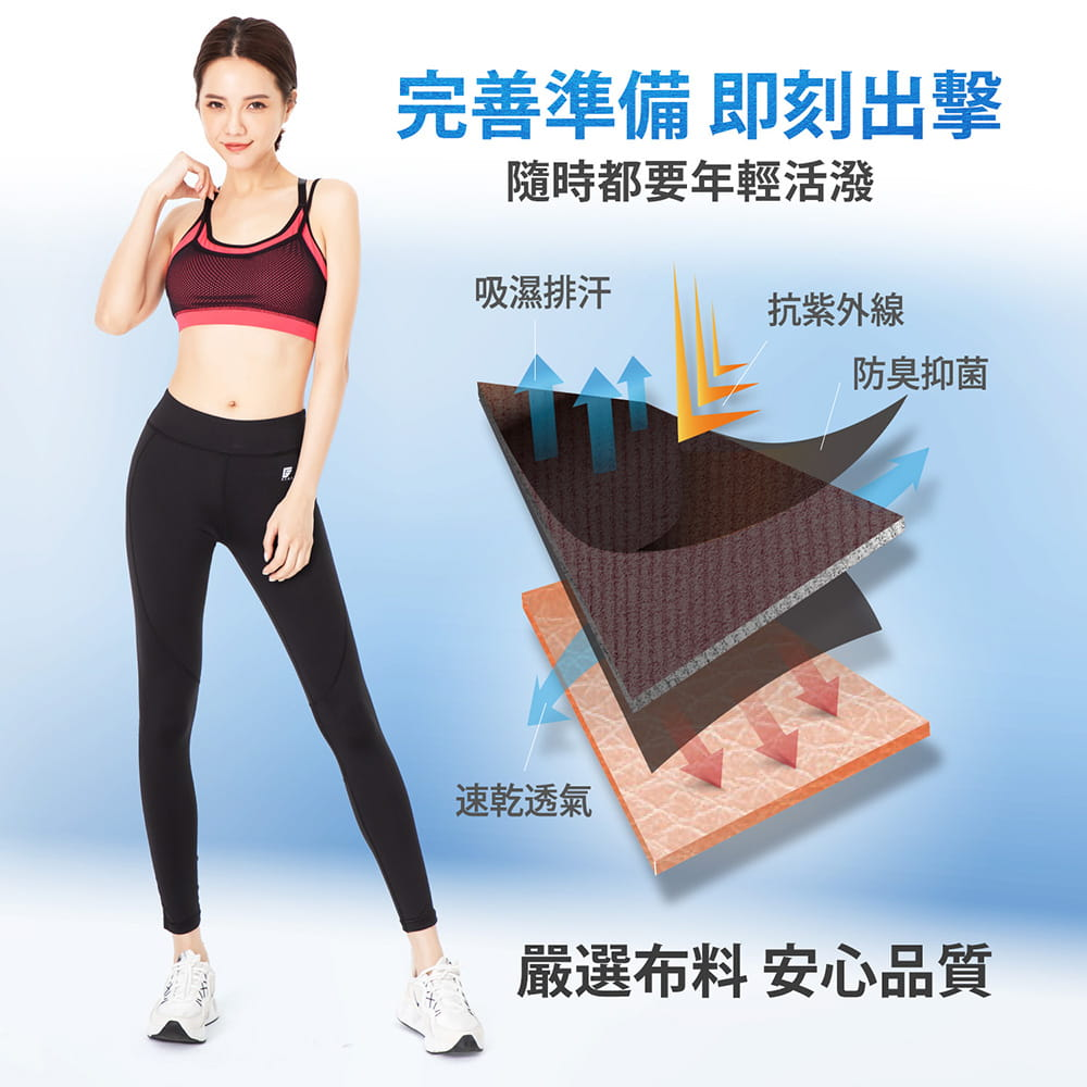 【GIAT】台灣製UV排汗機能壓力褲(網美2.0升級款) 7