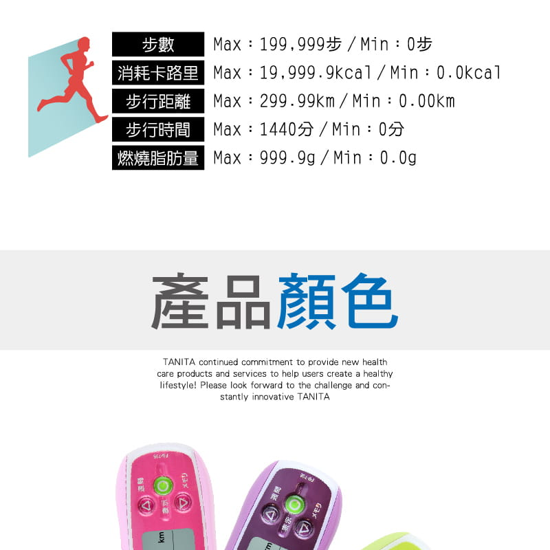 【TANITA 塔尼達】3D計步器 FB736 (粉/灰/紫/綠) 7