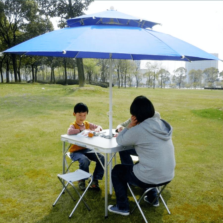 300cm超大雙層玻纖傘骨大陽傘+17kg傘座 送收納袋 5