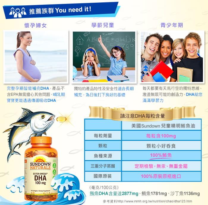 【美國Sundown日落恩賜】兒童精明鮪魚油DHA軟膠囊(100粒/瓶) 3