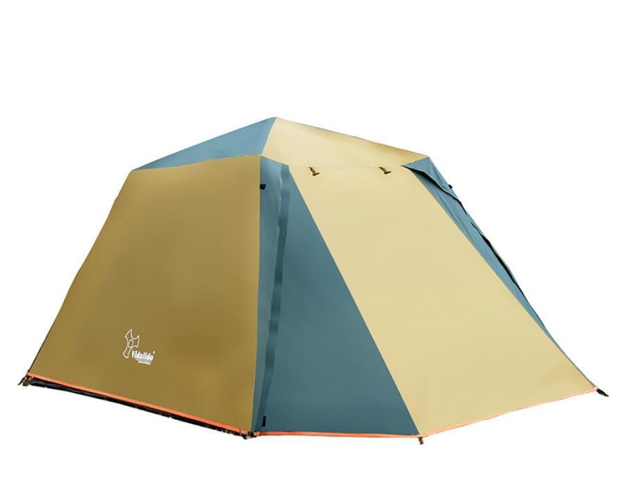 駝綠色自動速開家庭3-4人帳篷 防暴雨抗紫外線沙灘釣魚帳篷 3