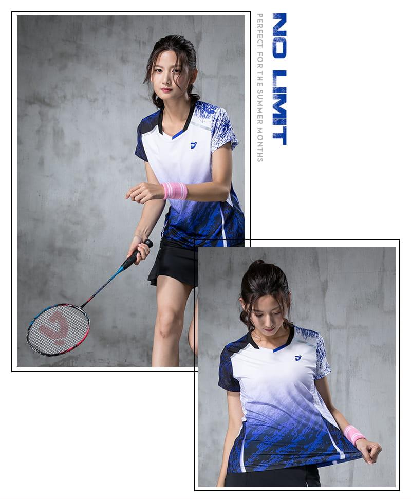 【JNICE】韓版晨曦羽球競技衫(女版)-白藍 7