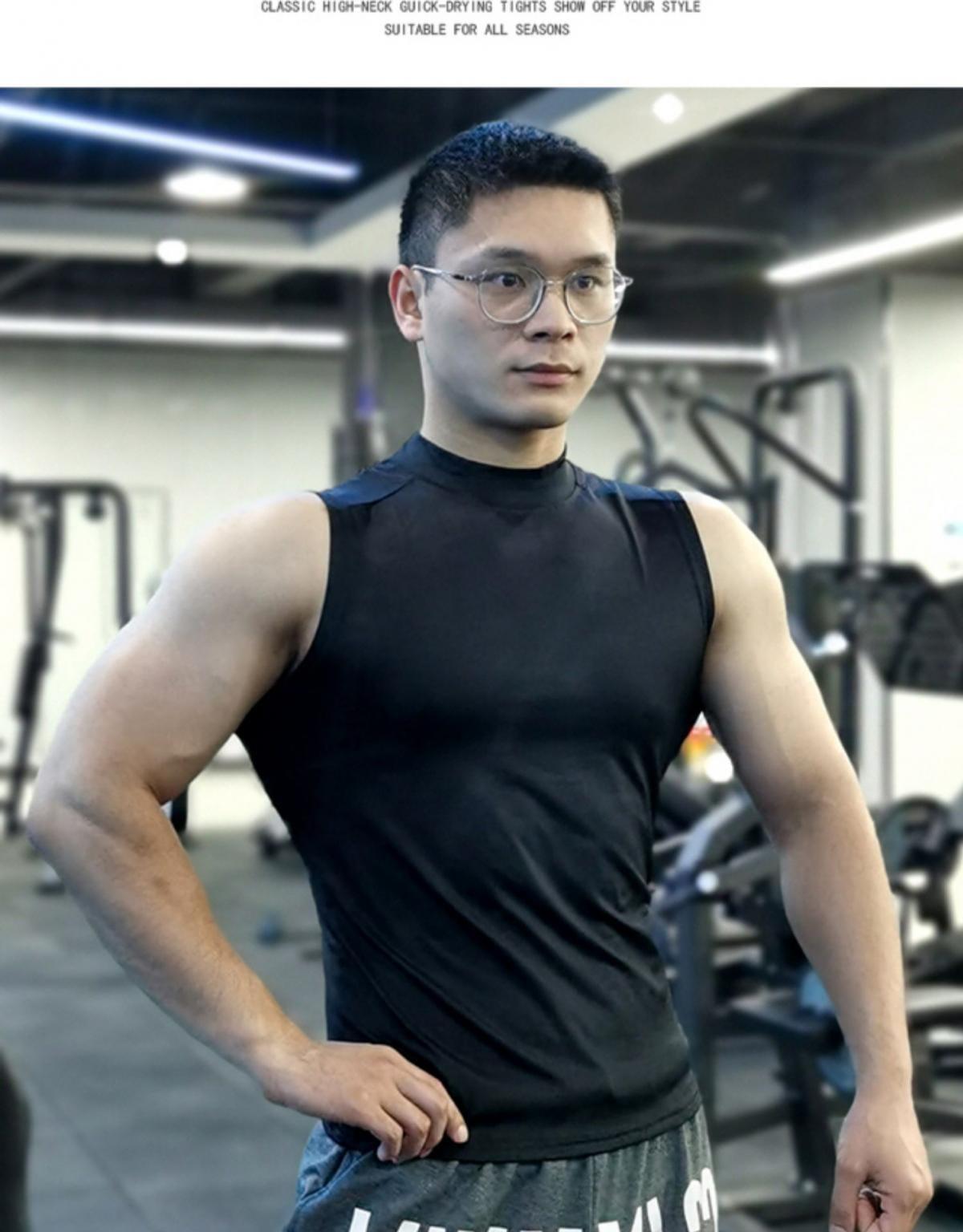 (快速出貨) 男士運動背心無袖緊身速乾運動彈力坎肩健身T恤高領訓練背心 9