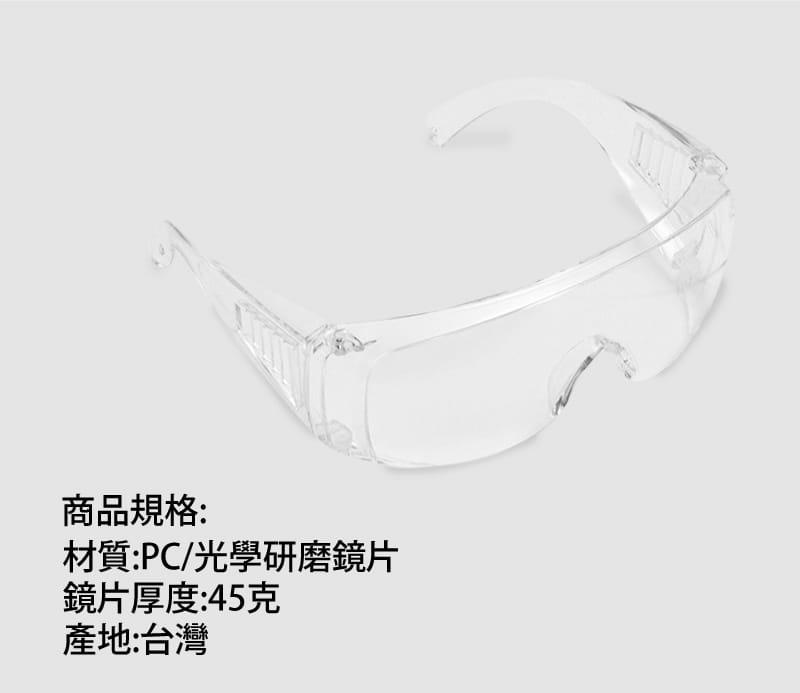 台灣製造 全透明防霧 防塵 防飛沫 安全護目鏡 4