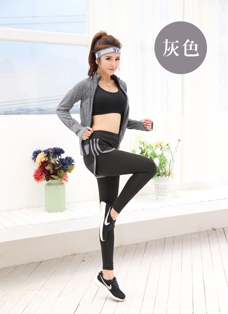 加大尺碼速乾顯瘦假兩件健身運動褲 11