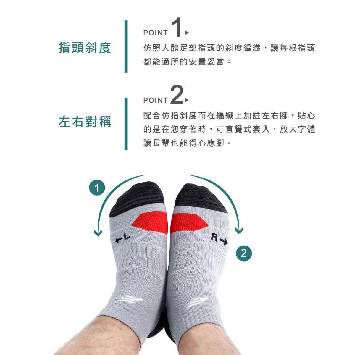 【FAV】足體工學動力跑襪 1