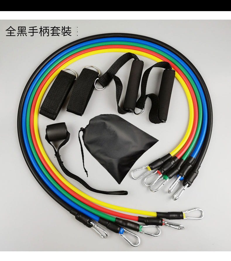 11件套拉力器多功能彈力繩男士拉力繩胸肌訓練健身器材家用套裝 5