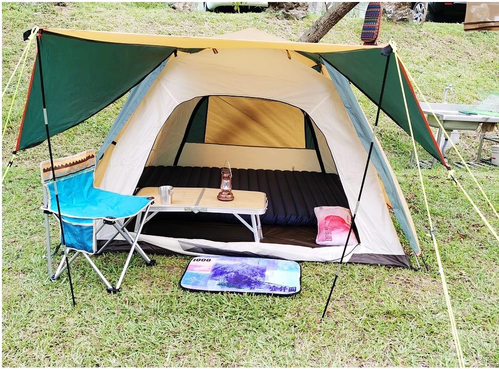 駝綠色自動速開家庭3-4人帳篷 防暴雨抗紫外線沙灘釣魚帳篷 5