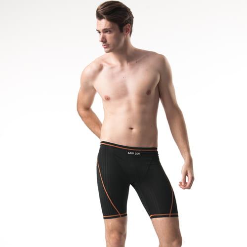 【SAIN SOU 聖手】競賽型七分泳褲加贈矽膠泳帽A57302 1