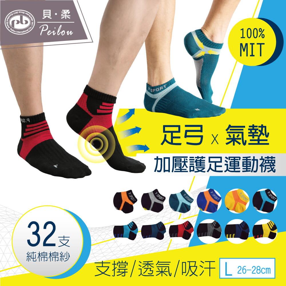 【Peilou】左右腳輕量護足足弓襪(船襪/短襪)(男) 0