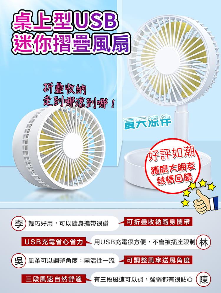 【DaoDi】USB迷你摺疊風扇 (伸縮摺疊桌上型風扇) 17