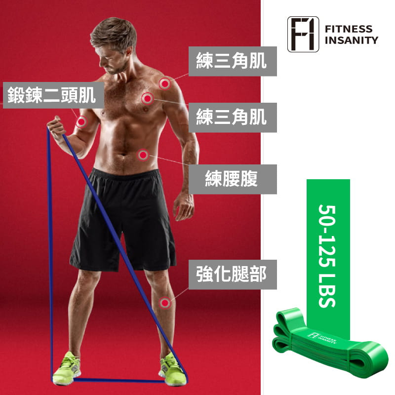 【FitnessInsanity】多功能環狀彈力帶 阻力带4件組 2