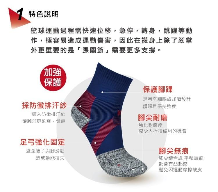 【旅行家】防黴排汗加壓護踝籃球襪 2