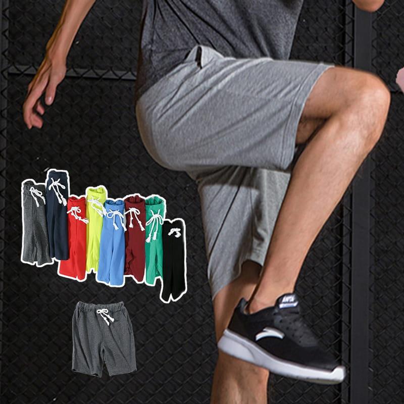 棉質休閒運動短褲 薄款透氣 抽繩男女款 舒適健身褲 0