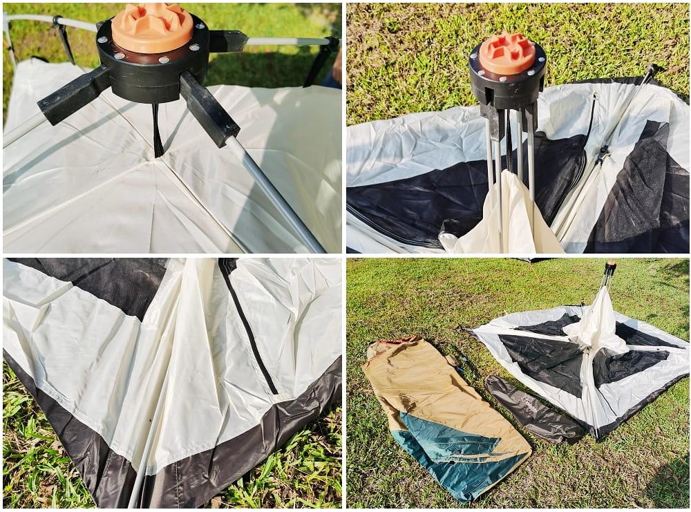 駝綠色自動速開家庭3-4人帳篷 防暴雨抗紫外線沙灘釣魚帳篷 4