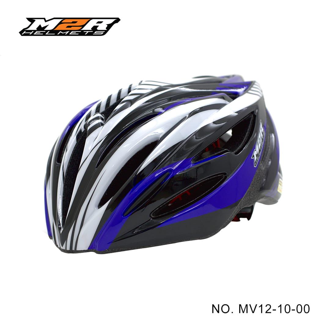 【路達自行車衣館】M2R 》MV12專業自行車安全帽 MV12-10-00 ★黑藍 0