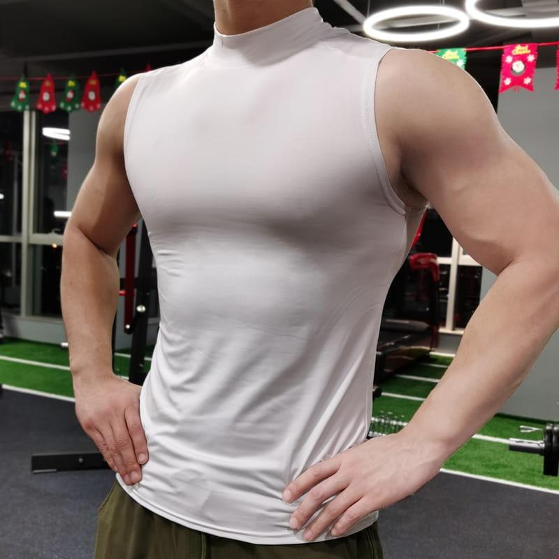 (快速出貨) 男士運動背心無袖緊身速乾運動彈力坎肩健身T恤高領訓練背心 13