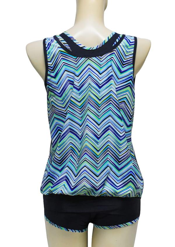 【AGE BOAT】大女藍色水波紋外罩衫內搭運動型泳衣三件式泳衣M8430 5