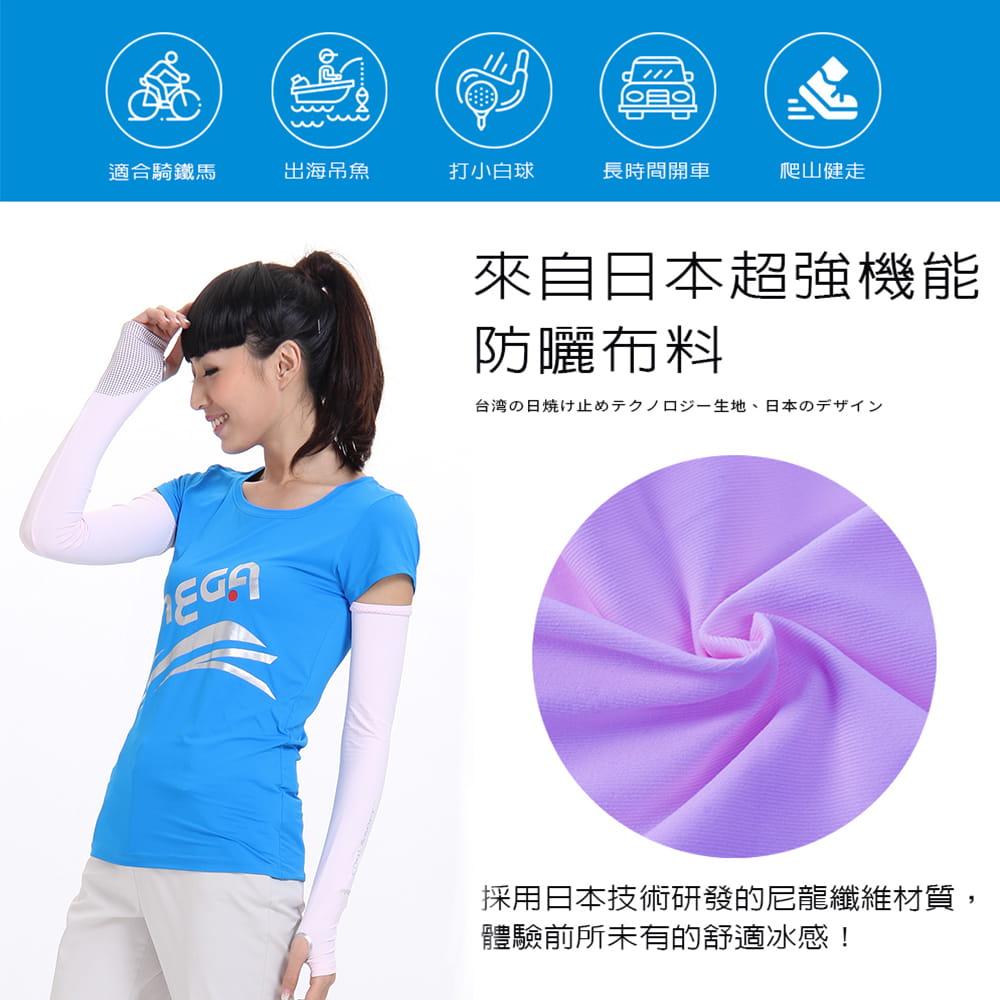 【MEGA COOUV】女款 防曬冰感止滑手掌款袖套(冰涼袖套 機車袖套 止滑袖套 手蓋袖套) 2