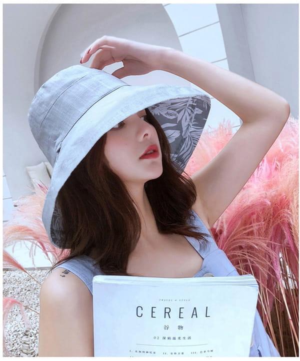 日系雙面拼色摺疊遮陽帽 2
