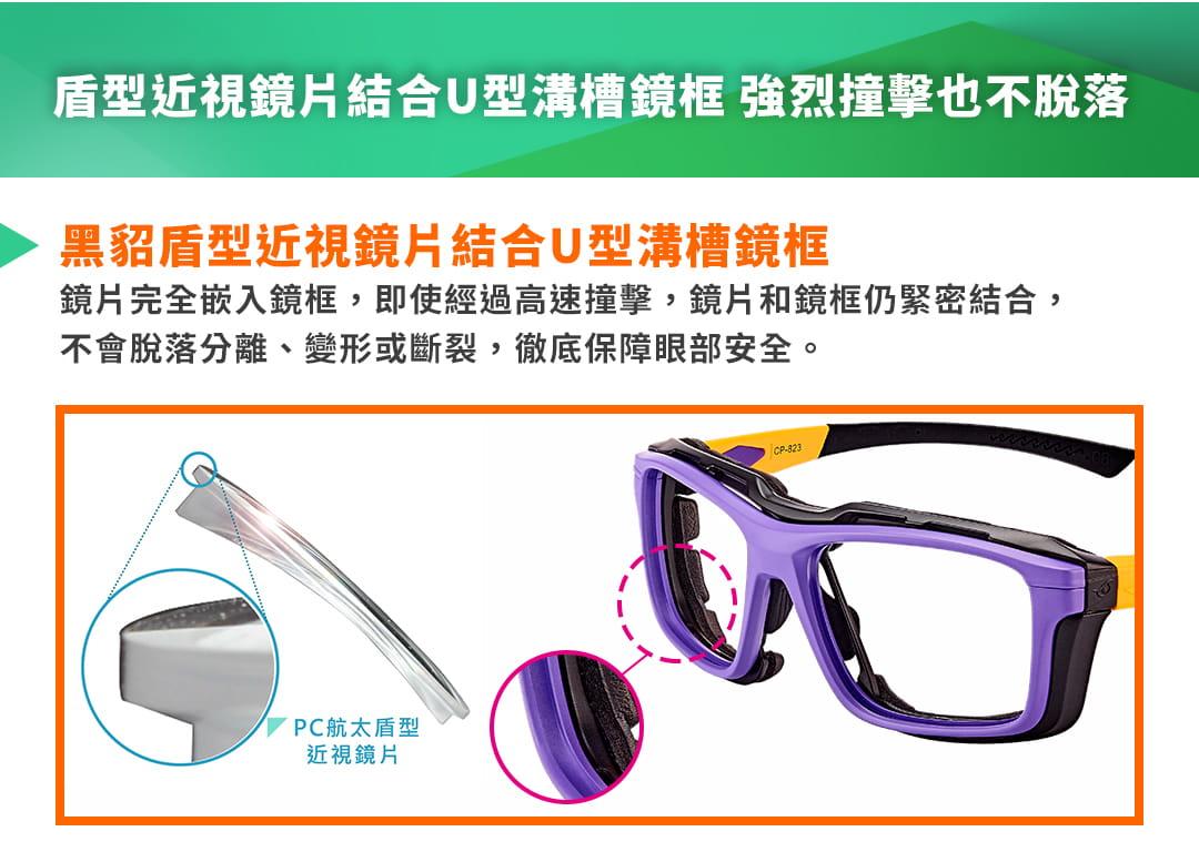 SABLE黑貂光學-專屬球類運動眼鏡CP-823(標準款-無保護墊)+SP-03(平光精緻鍍膜鏡片) 11