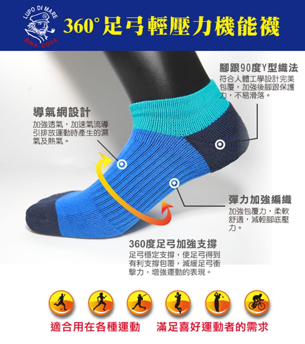 【老船長】(K144-8M)足弓輕壓機能運動襪-女款 2