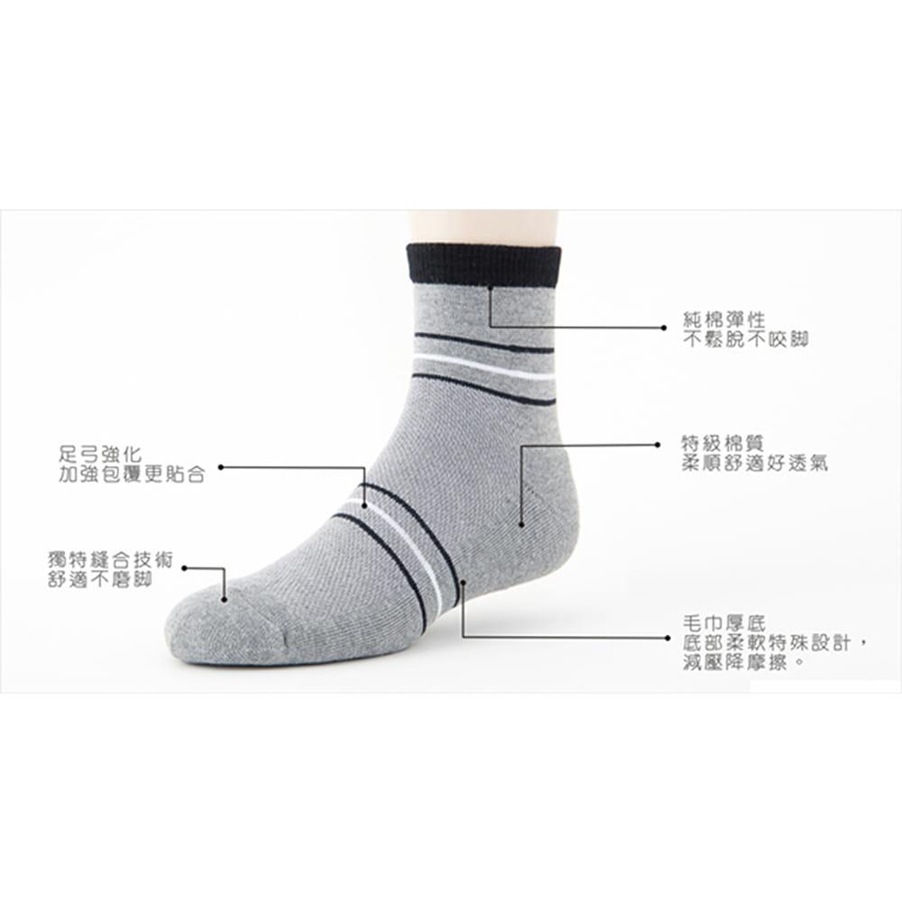 【老船長】(B3-144)三橫線毛巾氣墊加大運動襪 6