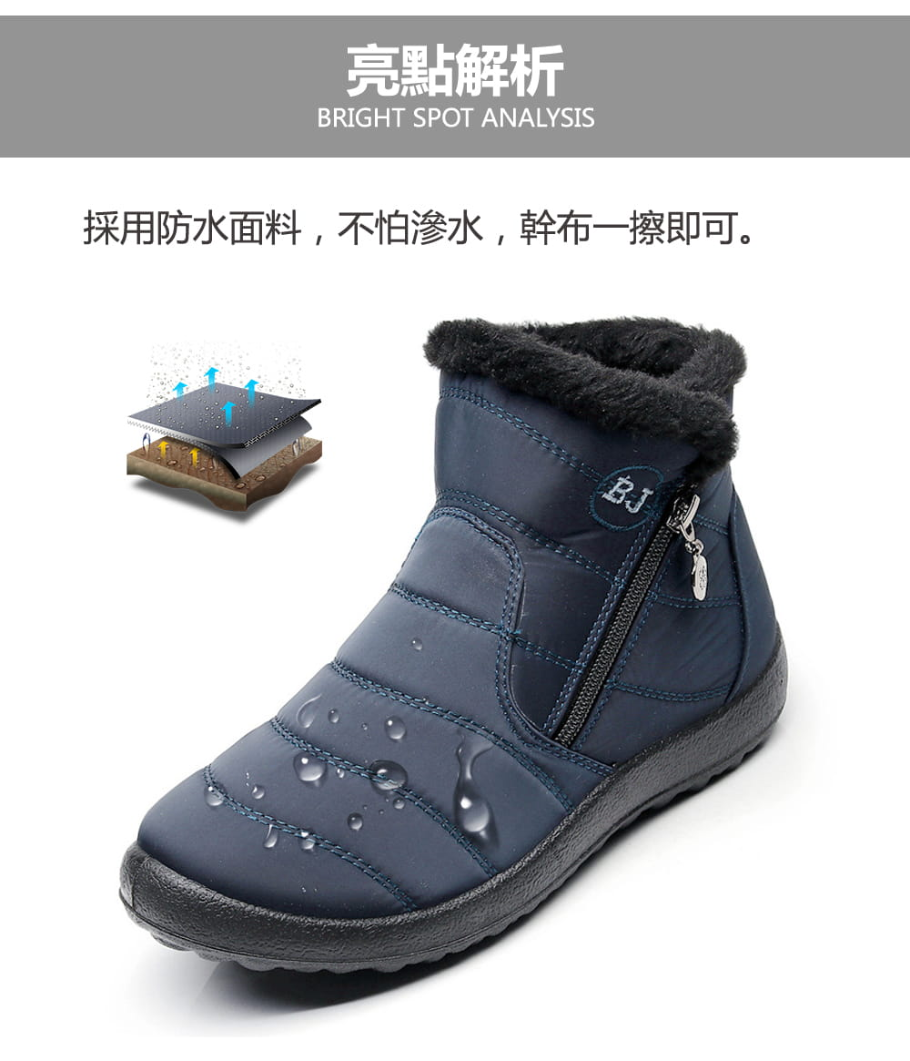 防水保暖防滑厚毛絨雪靴(36-42碼/3色可選) 3