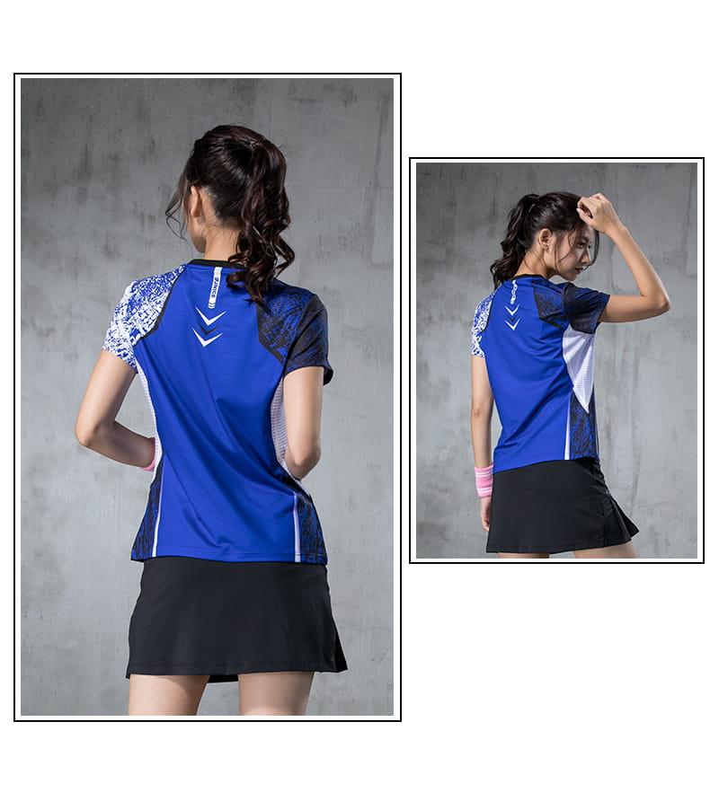 【JNICE】韓版晨曦羽球競技衫(女版)-白藍 5