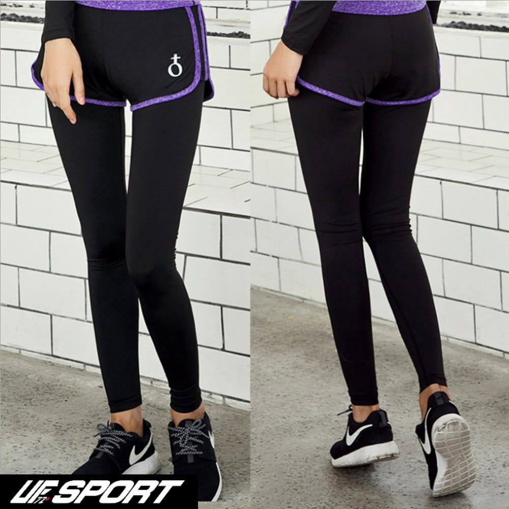 【UF72+】UF-W17121時尚高彈力女款速乾瑜珈輕壓假兩件運動褲/黑紫 0