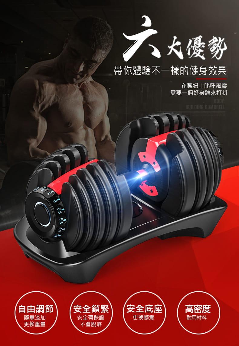 【快速調整型啞鈴】24KG 52磅 15段重量 可調式啞鈴 1
