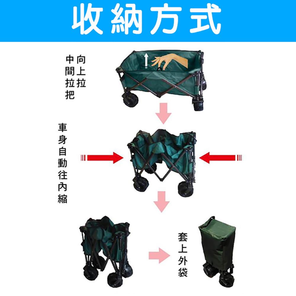 四折可收納美式折疊推車/手拉車/購物車 可承重100kg 可拆洗 (迷彩色) 6