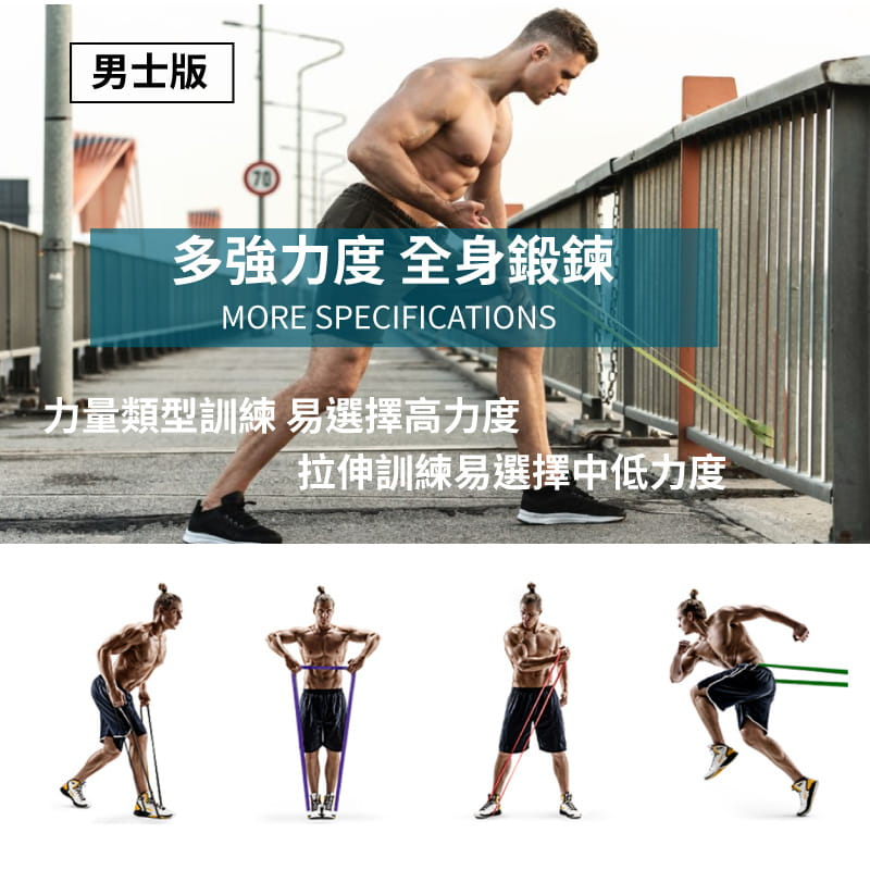 【FitnessInsanity】多功能環狀彈力帶 阻力带4件組 4